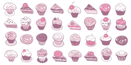 Collection of cute cakes and pastry icons Vector