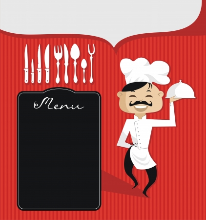preparing food: Culinary theme retro background with spaces for custom text Illustration