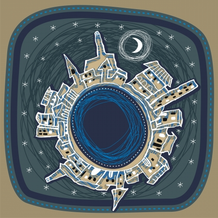 Naive spherical panorama of a city at night Vector