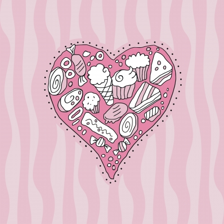 Doodle heart background with cookies and sweets Vector