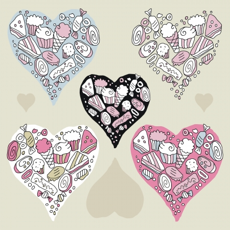 Doodle hearts set with cookies and sweets Vector
