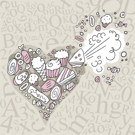 Exploding heart full of sweets, on random letters background Vector