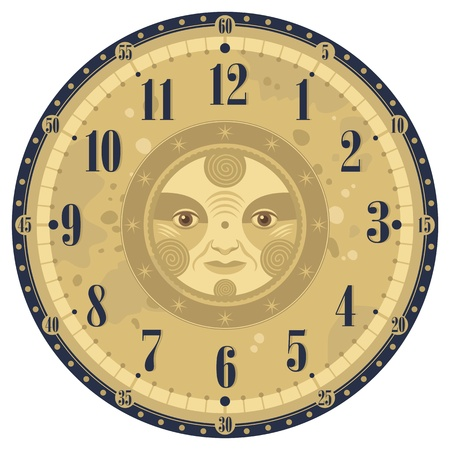 Vintage clock face template with decorative sun