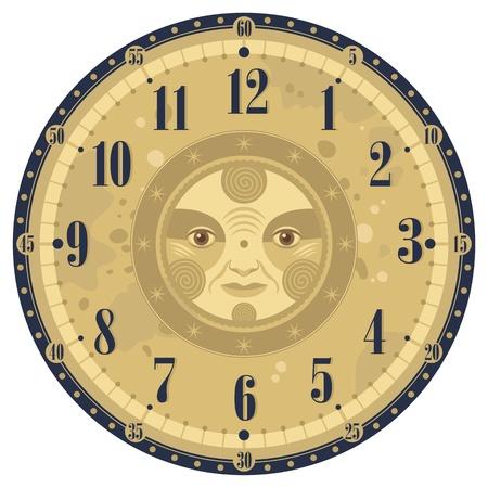Vintage clock face template with decorative sun Vector