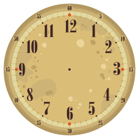 Vintage clock face template with old background