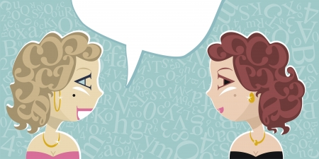 decolletage: Talking ladies with random letters background and speech balloon