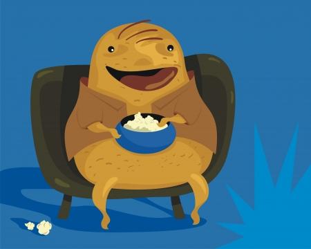 sedentario: Feliz de dibujos animados de patata sof� disfrutando de los programas de TV