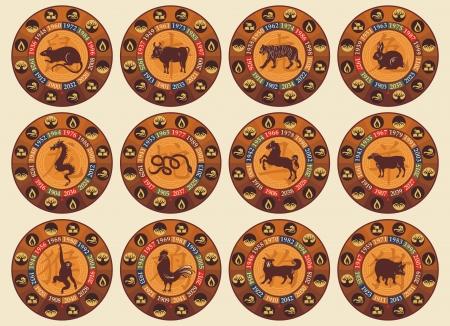 Chinese dierenriem set met jaren en de vijf elementen symbolen Vector Illustratie