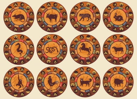 zodiac signs: Chinese zodiac set with years and the five elements symbols Illustration
