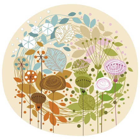 Doodled, decorative illustration of the four seasons Vector
