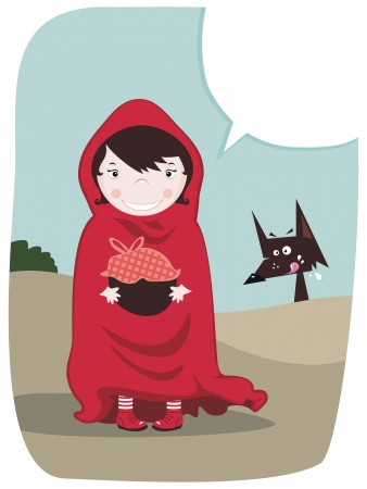 Red Riding Hood with speech balloon and funny wolf Illustration
