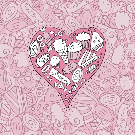 Doodle heart and background with cookies and sweets Vector