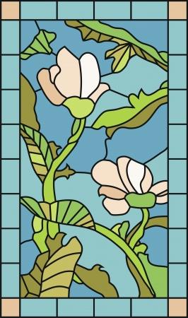 Gebrandschilderd glas sjabloon met magnolia bloemen en planten elementen
