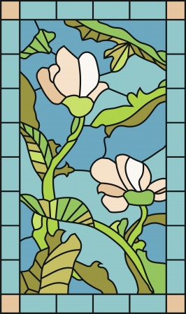 Stained glass template with magnolia flowers and plant elements Illustration
