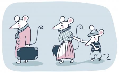 home moving: Caricatura de una familia de ratones blancos saliendo
