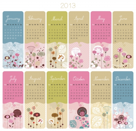 2013 Calendar set with vertical banners or cards