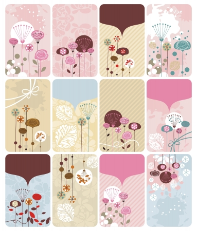 Seasonal gift cards backgrounds set with spaces for text Illustration