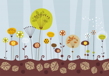sear: Decorative greeting card background with a garden in fall Illustration