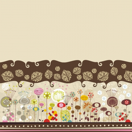 The four seasons blending in a decorative background, with space for custom text Illustration