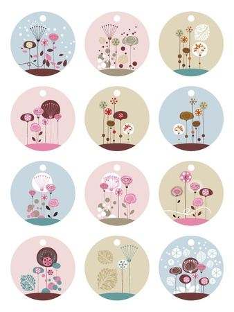 Set of gift tags templates with decorative floral elements