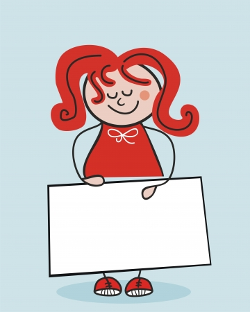 cartoon school girl: Little school girl holding a banner or cardboard (space for your text) Illustration