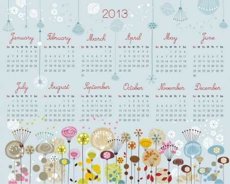 2013 Calendar with decorative floral, seasonal elements Illustration