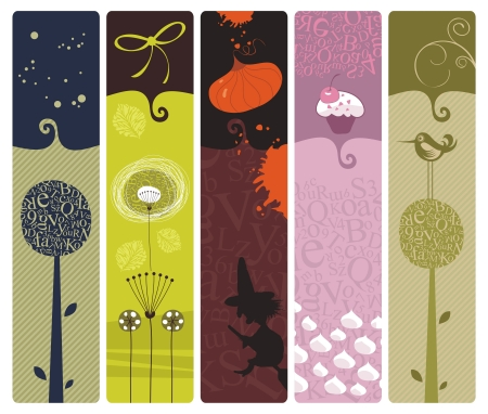 vertical banner: Set of bookmarks or banners backgrounds with various themes