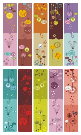 Collection of ten decorative colorful, floral bookmarks or banners