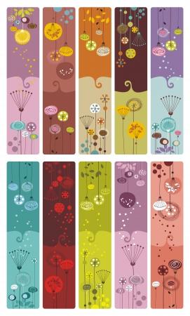 Verzameling van tien decoratieve kleurrijke, bloemen bladwijzers of banners