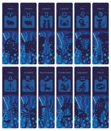 Bookmarks or banners set with the European zodiac signs and symbols Vector