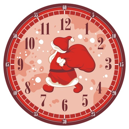 Isolated Christmas clock face template with Santa