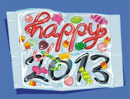 New Year illustrated as packed and sealed candies Ilustração