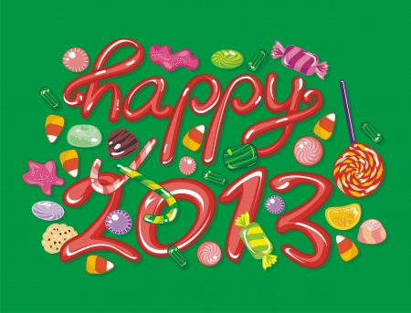 Happy 2013 illustration with sweets and candies