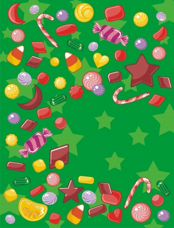 Christmas card background with assorted candies and space for your text Vector
