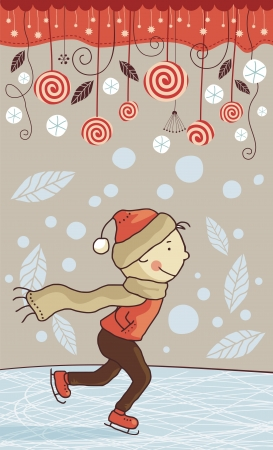 Seasonal illustration with ice skating little boy Vector