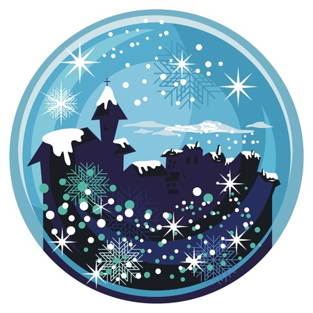 winter wonderland: Winter snow globe with old town and seasonal elements Illustration