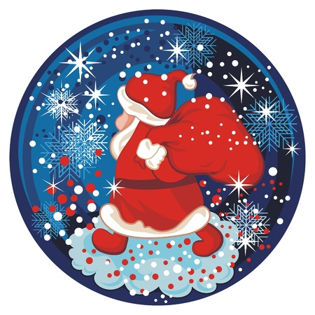 Winter snow globe with Santa and seasonal elements Vector