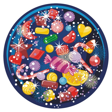 Winter snow globe with assorted candies and seasonal elements Imagens - 15789254