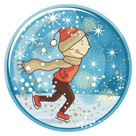 winter wonderland: Winter snow globe with ice skating kid and seasonal elements