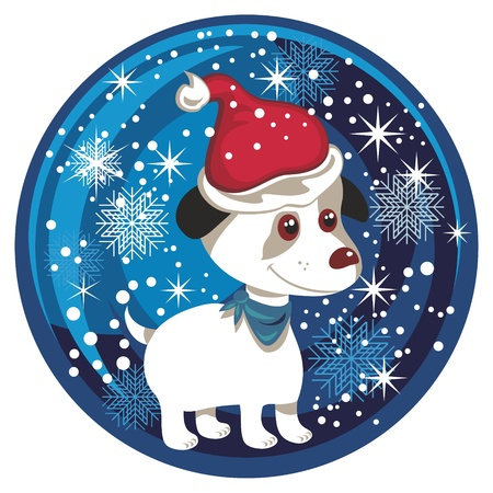 winter wonderland: Christmas snow globe with puppy and seasonal elements