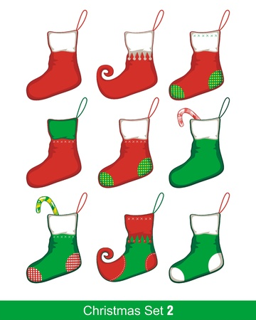 Colorful Christmas set with various stocking shapes Stock Vector - 15859776