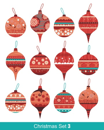 Seasonal decorative set with various Christmas balls Vector