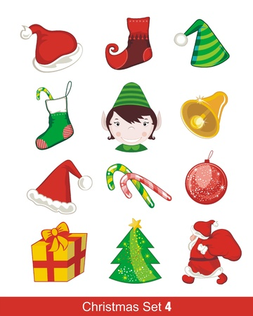 Colorful Christmas set with various seasonal objects Ilustração