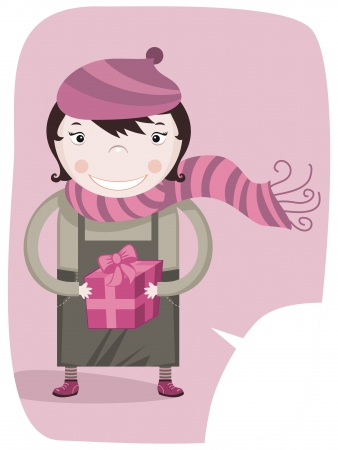 Happy little girl with gift box and speech balloon Stock Vector - 15866118
