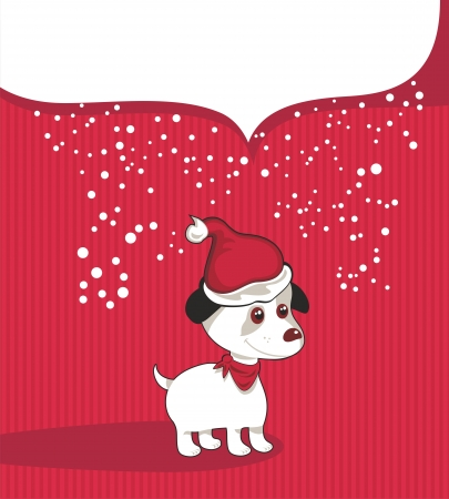 Christmas background with puppy and speech balloon for your text Vector