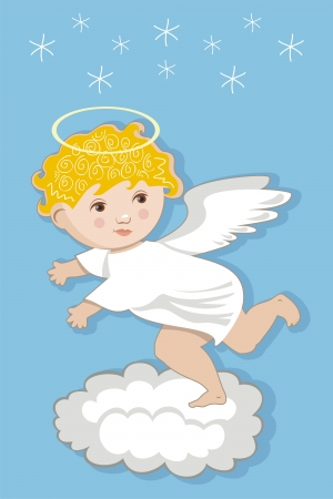 angel flying: Cute angel flying over clouds Illustration