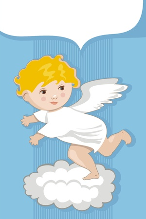 Background with cute angel and space for custom message Vector