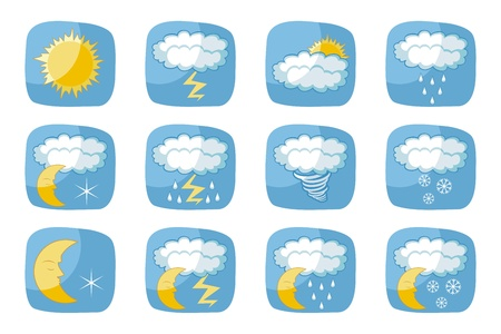 nocturne: Weather icons set with various atmospheric phenomena Illustration