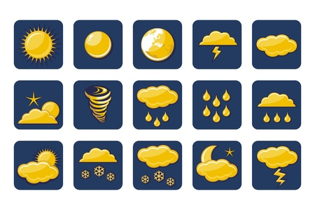 Weather icons set with various atmospheric phenomena Stock Vector - 15866126