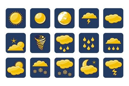 Weather icons set with vaus atmospheric phenomena Stock Vector - 15866126